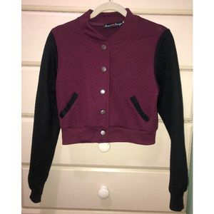 Sweaters - Burgundy bomber sweater with black sleeves
